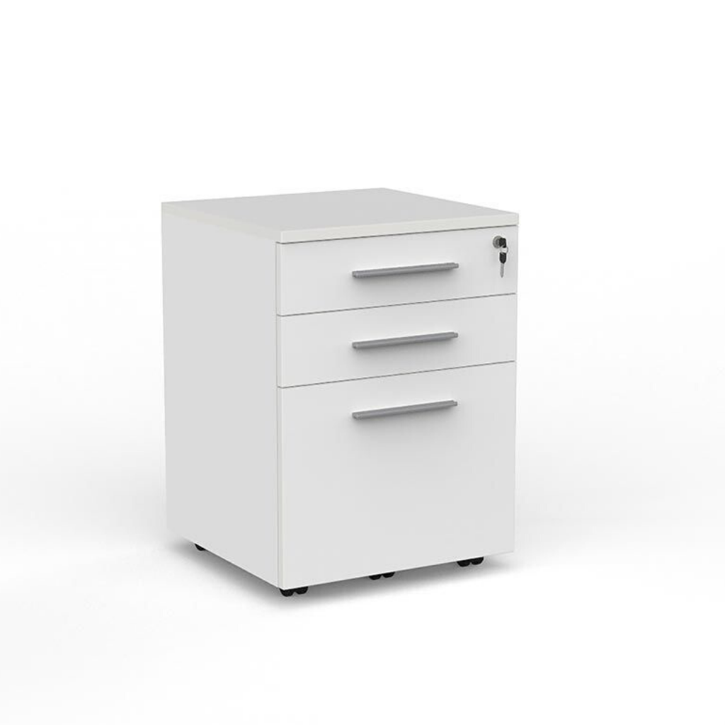 DESK CUBIT MOBILE DRAWS 2+1 White