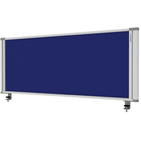 Desk Mounted Partition - Blue Fabric