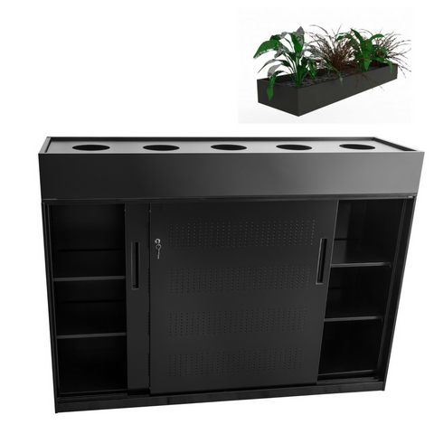 Europlan Steel Slider Door Cabinet Black with Planter Box