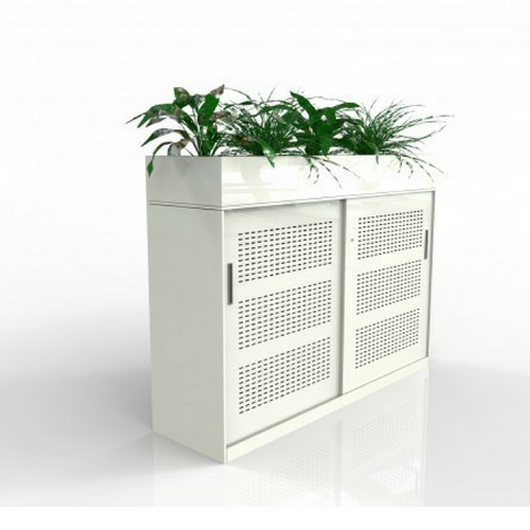 Europlan Steel Slider Door Cabinet White with Planter Box