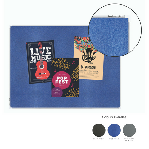 Blue Fabric Pinboard Single Sided Aluminium Frame