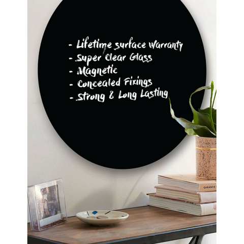 MAGNETIC GLASSBOARD Round Black