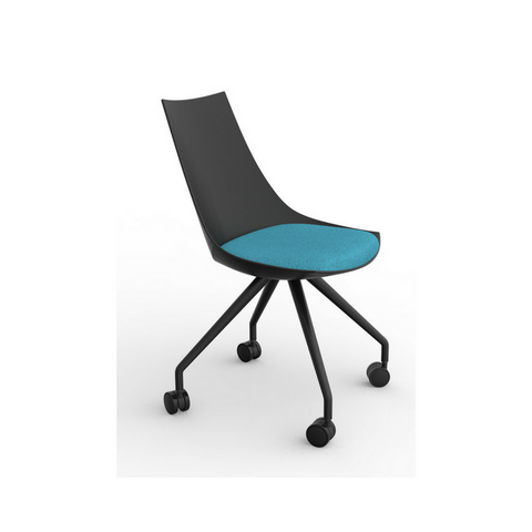 Luna Black Chair with Castor Base