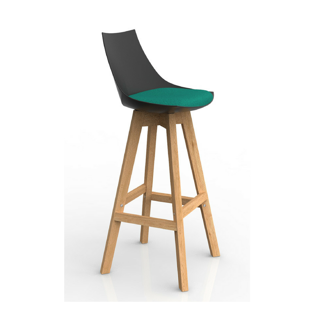 Luna Black Barstool with Oak Base