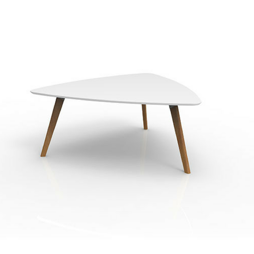 Oslo Triangular Sit Down Table, Ash Timber Base with White Top