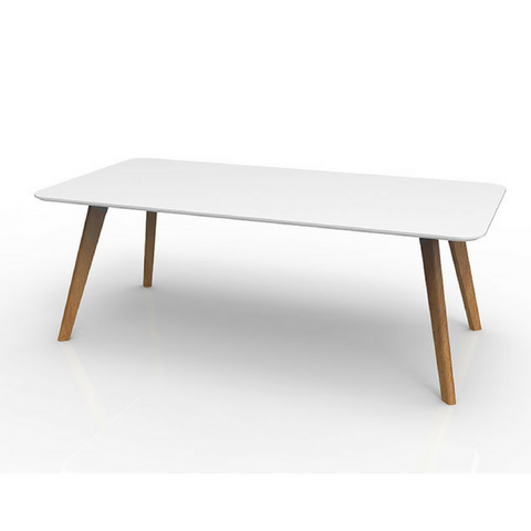 Oslo Sit Down Table, Ash Timber Base with White Top