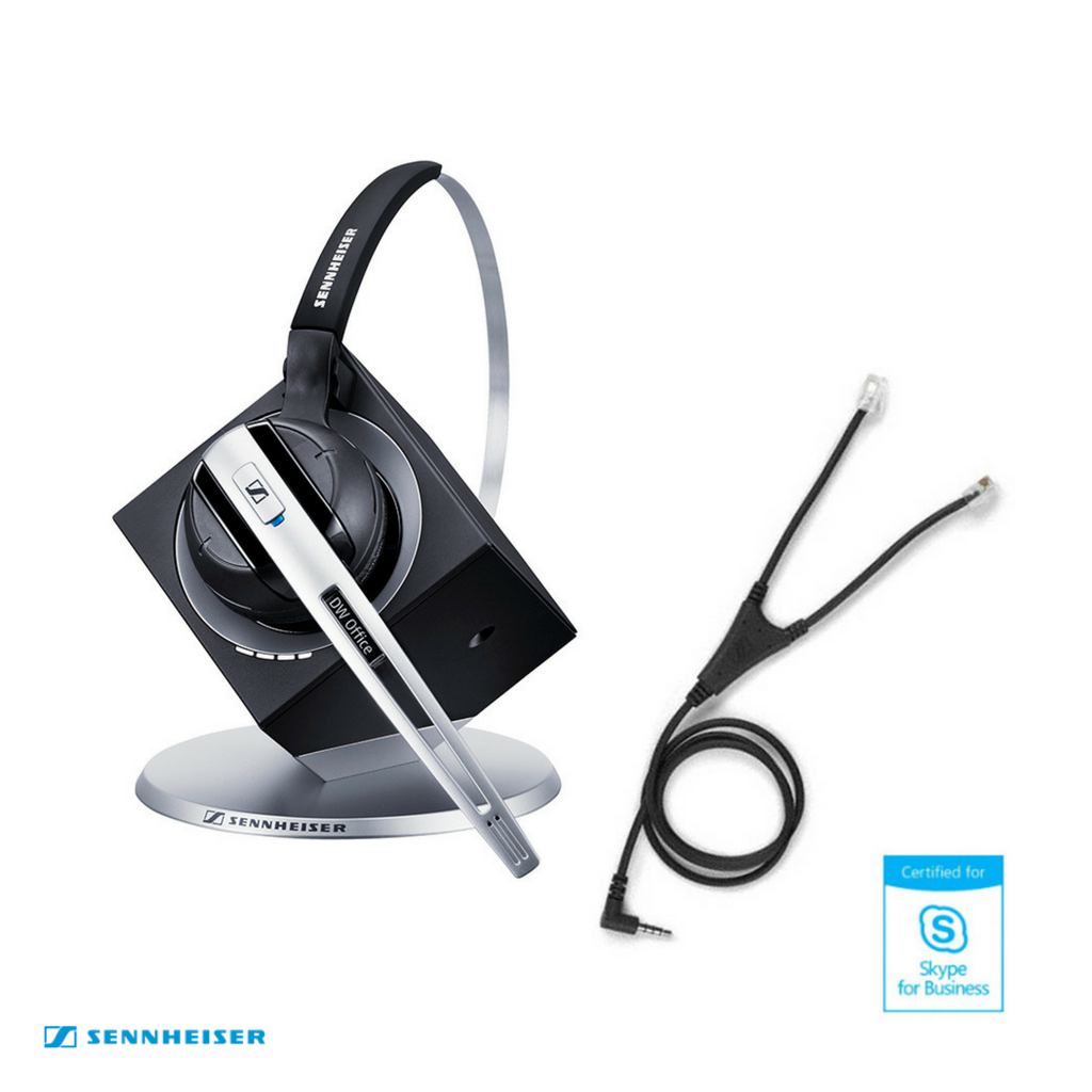 Sennheiser DW Office MS Wireless DECT Office Headset with Base Station & Audio Cable - Skype for Business - for Mobile Phone