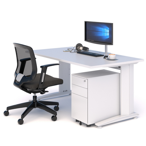 A WORKSPACE BUNDLE with DESK, MESH CHAIR & DRAWS WHITE WITH WHITE TOP