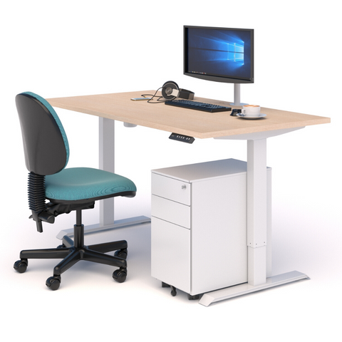 A WORKSPACE BUNDLE with STANDING DESK, CHAIR & DRAWS OAK/WHITE