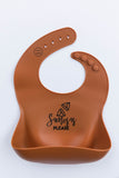 "Silicone Baby Bib Set ('Samosas Please"" in Cocoa + ""Start with Bismillah"" in Oat)"