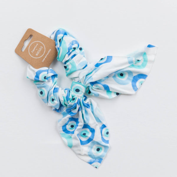 Bow Scrunchie - Evil Eye Print