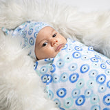 Evil Eye Bamboo Cotton Swaddle Blanket (single)