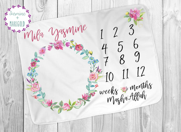 Pink Rose Muslim Baby Girl Personalized Milestone Blanket