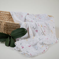 Arabic Alphabet Bamboo Cotton Swaddle Blanket (single)