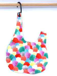 Knot Bag | Ultra Bright Pom Poms | Japanese Fabric Knitting Project Bag