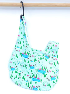 Knot Bag || Mountain Country Cabin with Horses on Light Blue | Project Bag for Knitters
