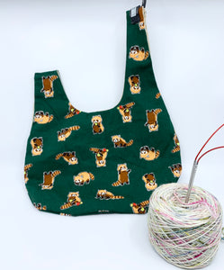 Knot Bag | Red Pandas on Forest Green