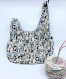Knot Bag | Sketchy Cats on Dusty Blue