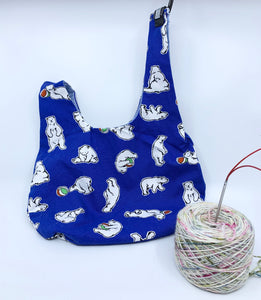 Knot Bag |  Polar Bears on Imperial Blue