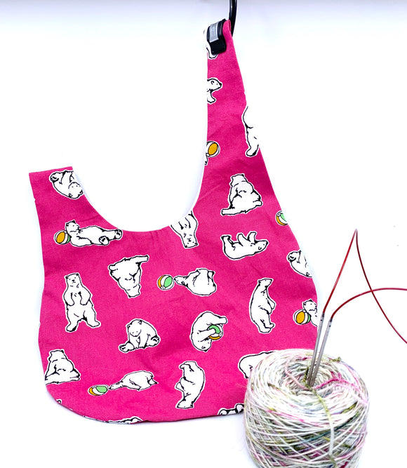 Knot Bag | Polar Bear on Hot Pink