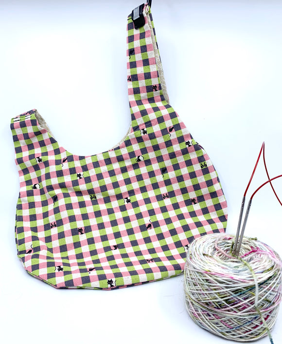Knot Bag | Sassy Cat on Pink, Purple, and Green Gingham