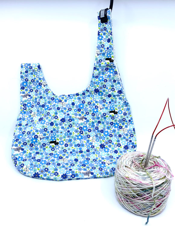 Knot Bag | Sneaky Floral Cats in Blue