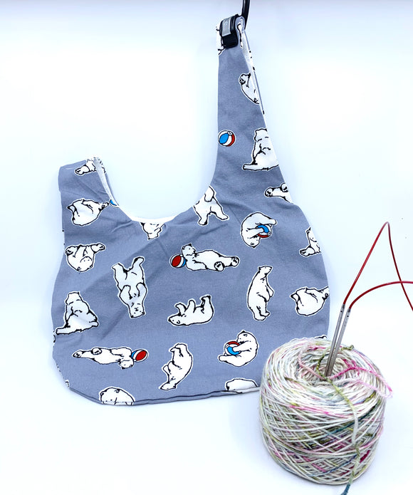Knot Bag | Polar Bears on Grey
