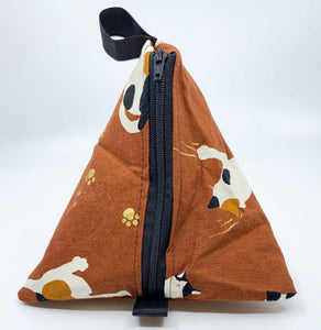 Triangle Pouch | Cats Racing Down Curtains on Burnt Sienna