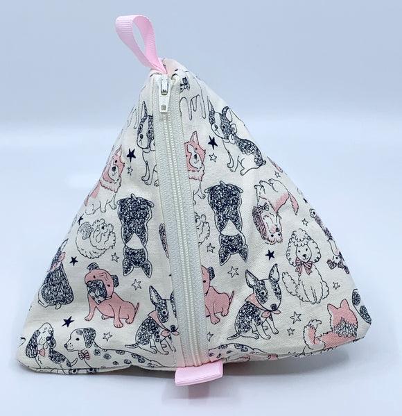 Triangle Pouch | Sketchbook Dogs in Navy and Pink