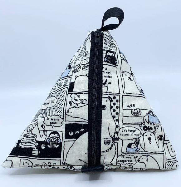 Triangle Pouch | Polar Bear Making Pancakes in Grey Monochrome