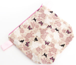 Small Wedge Bag || Black Cat, Roses, and Butterflies Print on Beige Japanese Print Project Bag