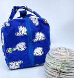 Small Box Bag | Polar Bears on Imperial Blue