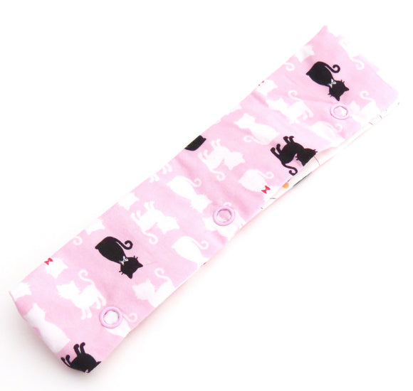 Needle Stasher || DPN Holder || Black Cat and White Cats on Pink Japanese Print for Knitters