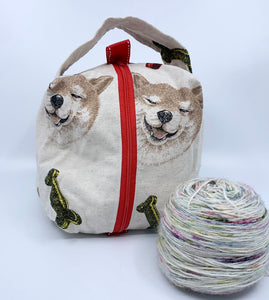 Small Box Bag | Shiba Inu on Linen