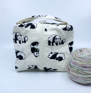 Small Box Bag | Pandas on White