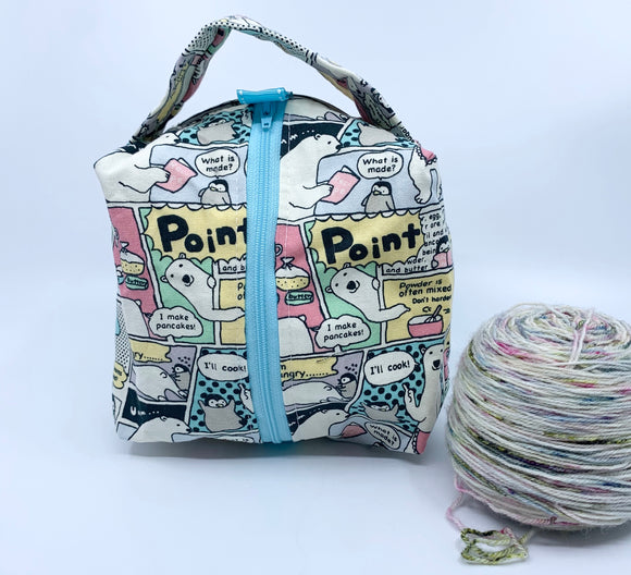 Small Box Bag | Polar Bear Makes Pancakes in Pastels with Sky Blue Zipper