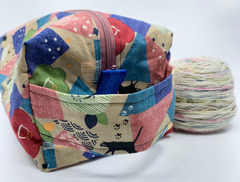 Small Wedge Bags || Natural Owls on Navy or Red Japanese Print Project Bag