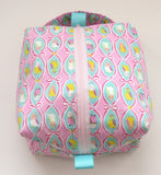 Small Box Bag || Budgies in Ribbon Frames on Pink Japanese Print Project Bag