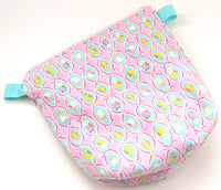 Small Wedge Bag || Budgies in Ribbon Frames on Pink Japanese Print Project Bag