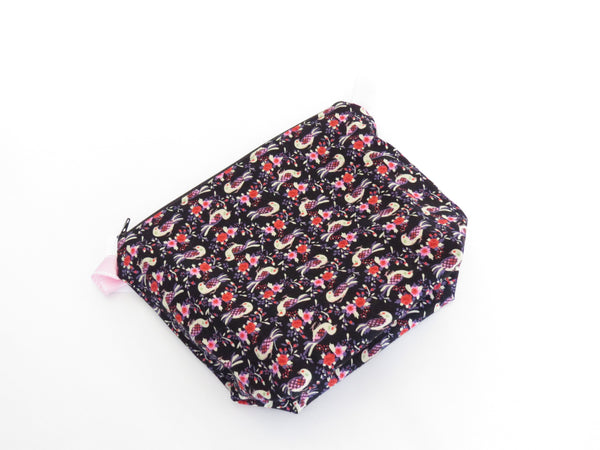 Small Wedge Bag || Colourful Birds on Black