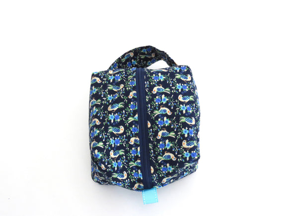 Small Box Bag || Blue Birds on Navy
