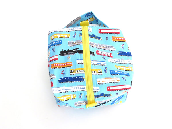 Small Box Bag || Japanese Trains on Light Blue