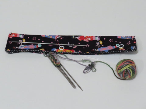 Needle Stasher || DPN Holder || Geisha Kimono Print Japanese Fabric for Knitters