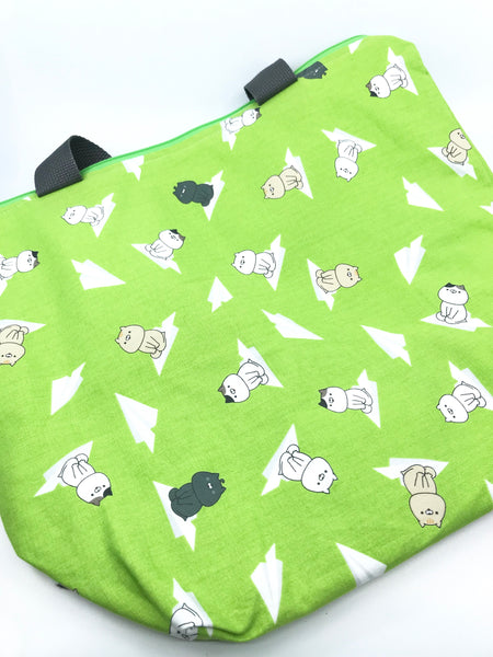 Big Bag || Quirky Cats on Paper Airplanes on Bright Lime Green