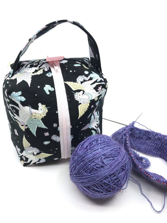 Small Box Bag || Pastel Unicorns on Black || Knitting Project Bag
