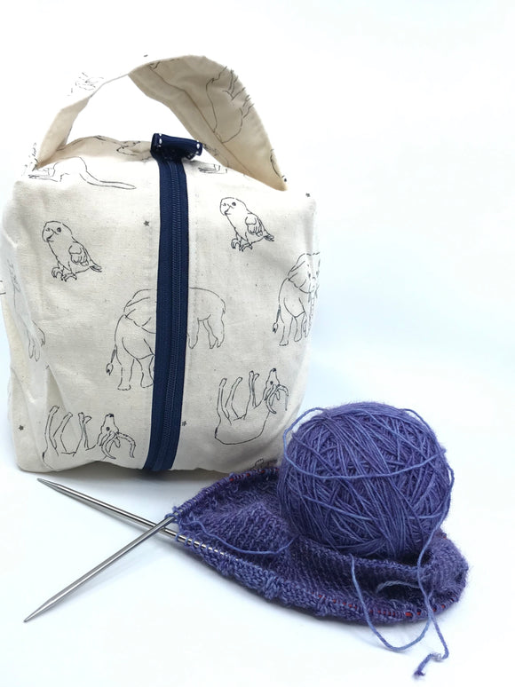 Small Box Bag || Line Art Animals on Ivory || Japanese Fabric Project Bag