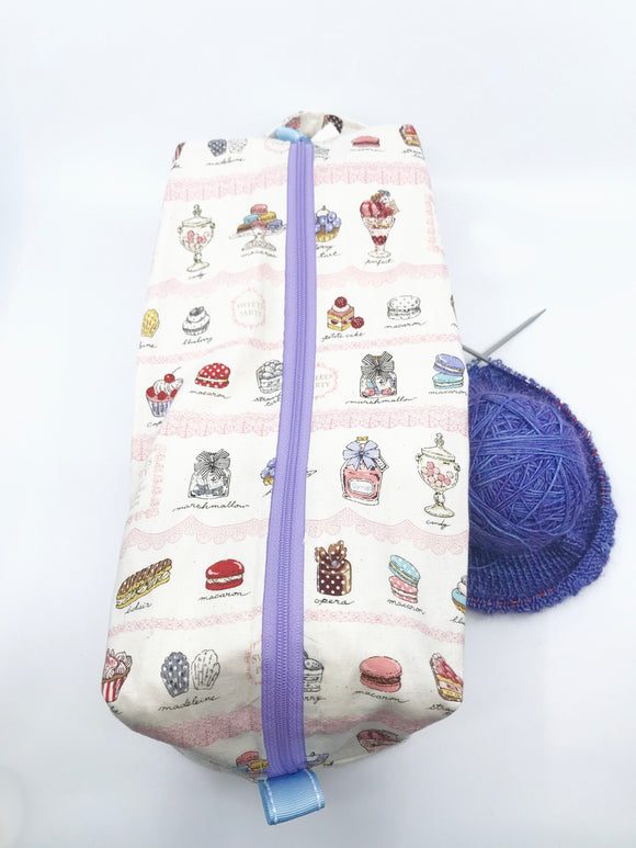 Large Box Bag || Sweets Party with Pink Lace || Japanese Fabric Project Bag