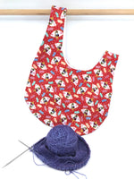 Knot Bag || Geisha Fans on Red || Japanese Fabric Project Bag