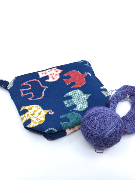 Small Wedge Bag || Embroidery Patterned Birds on Navy || Japanese Fabric Project Bag