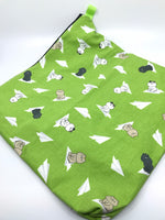 Fabric Envelope || Cats on Paper Airplanes on Lime Green
